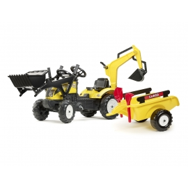 Constructor Yellow Ranch Backhoe + excavator, shovel, rake and trailer